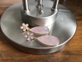 oorbellen XL met grote druppel van rozenkwarts