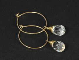 oorbellen creolen goud met bergkristal druppels facet