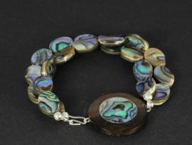 armband met abalone shell en palisander hout