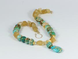 collier met imperial jaspis en citrien en goud