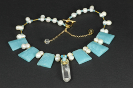 collier kort met dubbele parels en blue sponge quartz