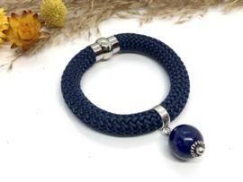 armband crème koord marine blauw en lapis lazuli