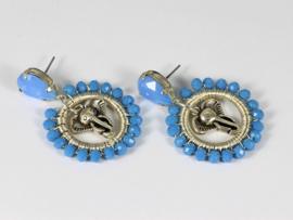 oorbellen zilver en blauw facet kristal met olifantje
