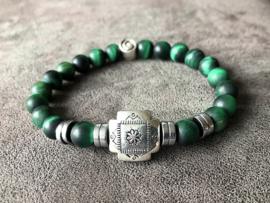armband heren tijgeroog mat in groen