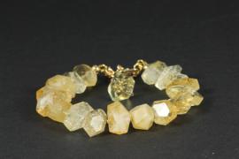 armband goud met citrien en citrienkwarts