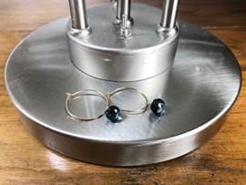 oorbellen creolen goud met hydro quartz blauw