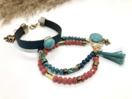 Armbanden set BOHO Chic blauw roze/oranje