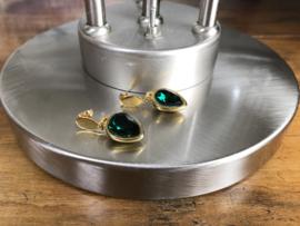 oorbellen kort goud groen swarovski