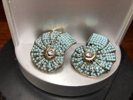 oorbellen oorstekers nautilus lichtblauw rijnsteentjes