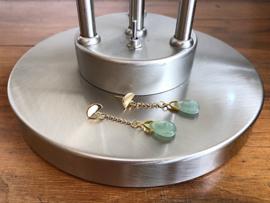 oorbellen XL goud met druppel van lichtgroene aventurijn