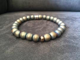 armband heren elastisch hematiet grijs/goud