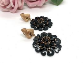 oorbellen verguld zwart met kristal
