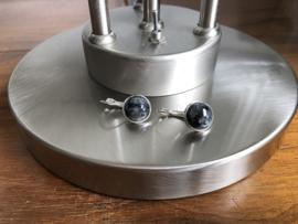 oorbellen zilver klapcreolen met larvikiet