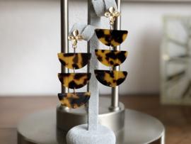 oorbellen XL oorstekers bloem goud tijgerprint