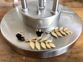 oorbellen lang goud met tak en swarovski
