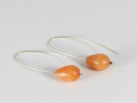 oorbellen lang  zilver met jade druppel oranje