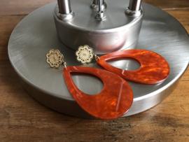 oorbellen XL goud met oranje raisin druppel