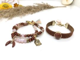 armbanden set BOHO Chic bruin roze
