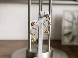 oorbellen XL swarovski goud citrienglas facet
