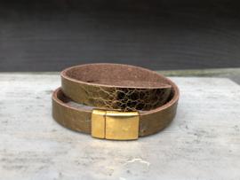 armband leer goud