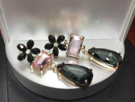 oorbellen met glaskristal zwart en roze