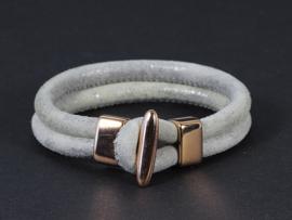 armband dubbel suède licht grijs met roségoud