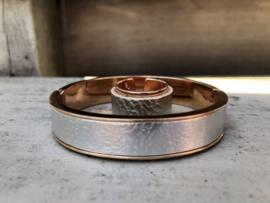 Armband bangel + ring rosé goud + leer zilver