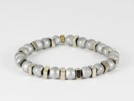 armband heren zilver grijs hematiet