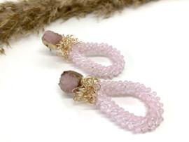 oorellen XL roze druzy's met roze facet drops