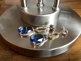 oorbellen lang blauw met zirkonia multicoour swarovski