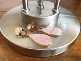 oorbellen clips XL goud met rozenkwarts druppel