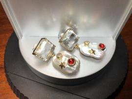 oorbellen met helder facet glaskristal en biwaparel
