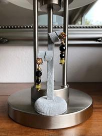 set collier/ketting en oorbellen goud met onyx en jade hanger