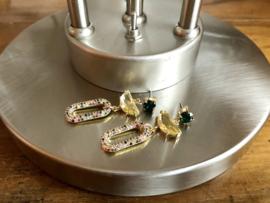 oorbellen lang goud zirkonia multicolour swarovski