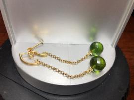 oorbellen lang goud vermeil toermalijn groen
