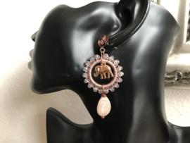 set lang collier en oorbellen roze
