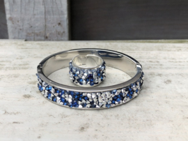 RVS armband bangle zilver met strass + ring