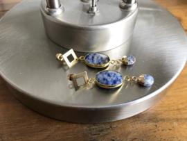 oorbellen lang goud blue stone