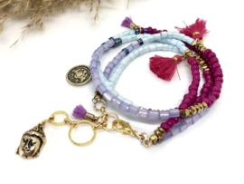 armband BOHO Chic roze-rood, lila, lichtblauw goud en bedels