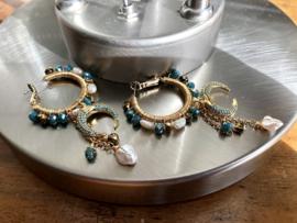 oorbellen creolen goud met kristal en parels