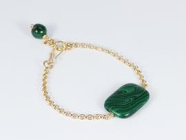 armband goud met malachiet