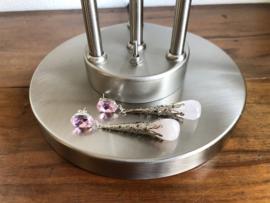 oorbellen XL zilver met rozenkwarts en swarovski