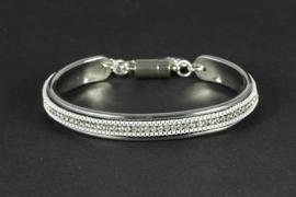 armband suède met kristallen in zilver