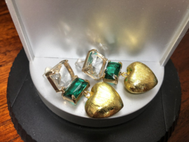 oorbellen verguld met kristal en goud hart