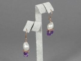 oorbellen zilver met barok parel en amethist