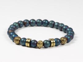 armband elastisch met hematiet blauw in goud