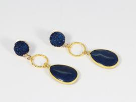 oorbellen XL goud druzz en jade goud donkerblauw