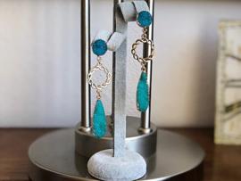 oorbellen XL oorstekers goud druzy's turquoise