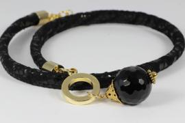 collier zwart suede met onyx
