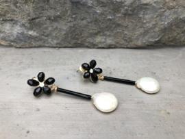 oorbellen goud zwart kristal muntparel wit